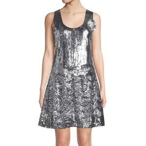 Michael Kors Sequin Flapper Dress Flower A…